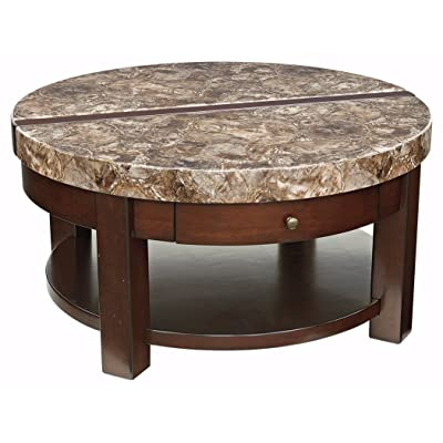 Ashley Furniture Signature Design   Kraleene Round Lift Top Coffee Table    1 Fixed Shelf