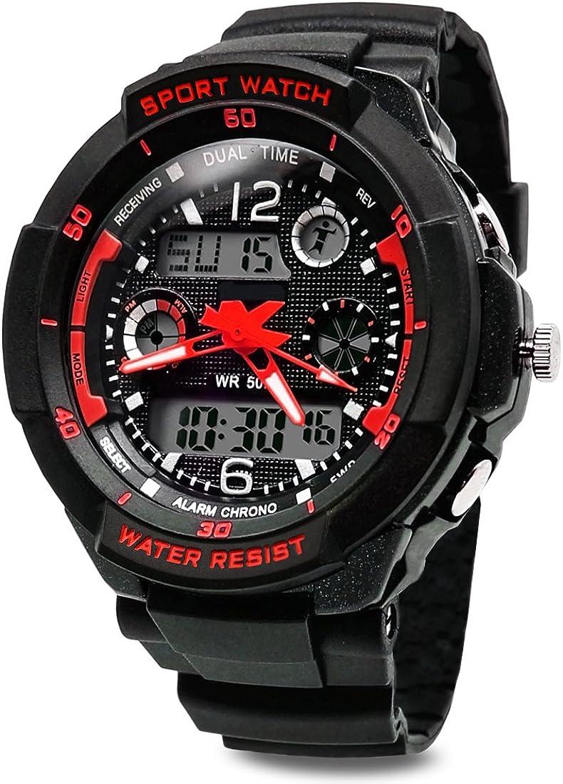 TOPCABIN Jungen Uhren Mädchen Uhren Kinder Armbanduhr Jungen Digital Analog Wasserdicht Sports Uhren für Jungen und Mädchen Digital Uhr Sports Uhren Rot: Amazon.de: Uhren - Kinderuhren