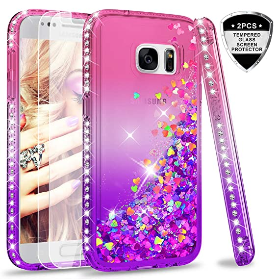 c2e8e3b31c3 Galaxy S7 Glitter Case with Tempered Glass Screen Protector [2 Pack] for Girls  Women