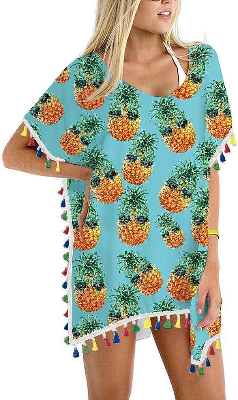 Loveternal Women Beach Cover Up Chiffon Tassel 3D Printed Beachwear Summer Loose Kaftan Swimsuit