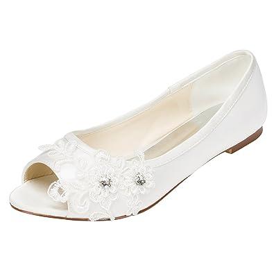 Emily Bridal Brautschuhe Frauen Satin Flache Ferse Peep Toe mit Crystal Heel Crystal