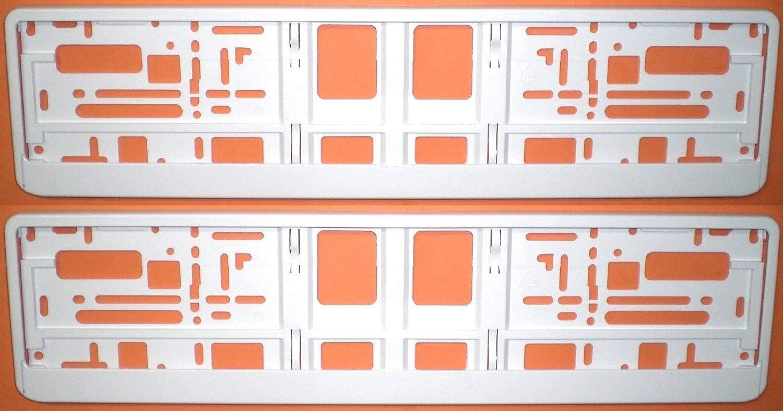 Satz Set farbig 2 St/ück Kennzeichenhalter FREIE FARBAUSWAHL! Premiumqualit/ät! Chrom Schwarz Wei/ß Gelb Pink Orange Rot Chrom