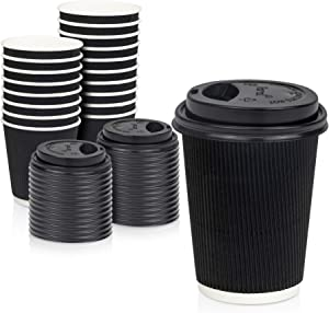[50 Pack] Disposable Hot Cups with Lids - 12 oz Black Double Wall Insulated Ripple Sleeves Coffee Cups with Black Dome Lid - Kraft Paper Cup for To Go Chocolate, Tea, and Cocoa Drinks