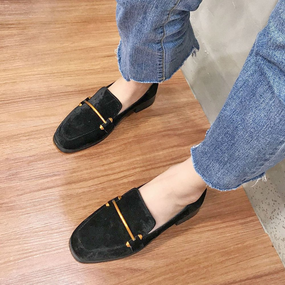 T-JULY Womens Faux Suede Slip-On Loafers Buckle Flat Shoes Fashion Casual Comfort Walking Shoes