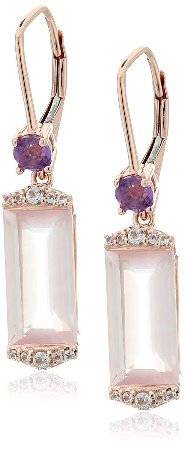 10k Pink Gold Rose Quartz, Amethyst and Created White Sapphire Dangle Earrings