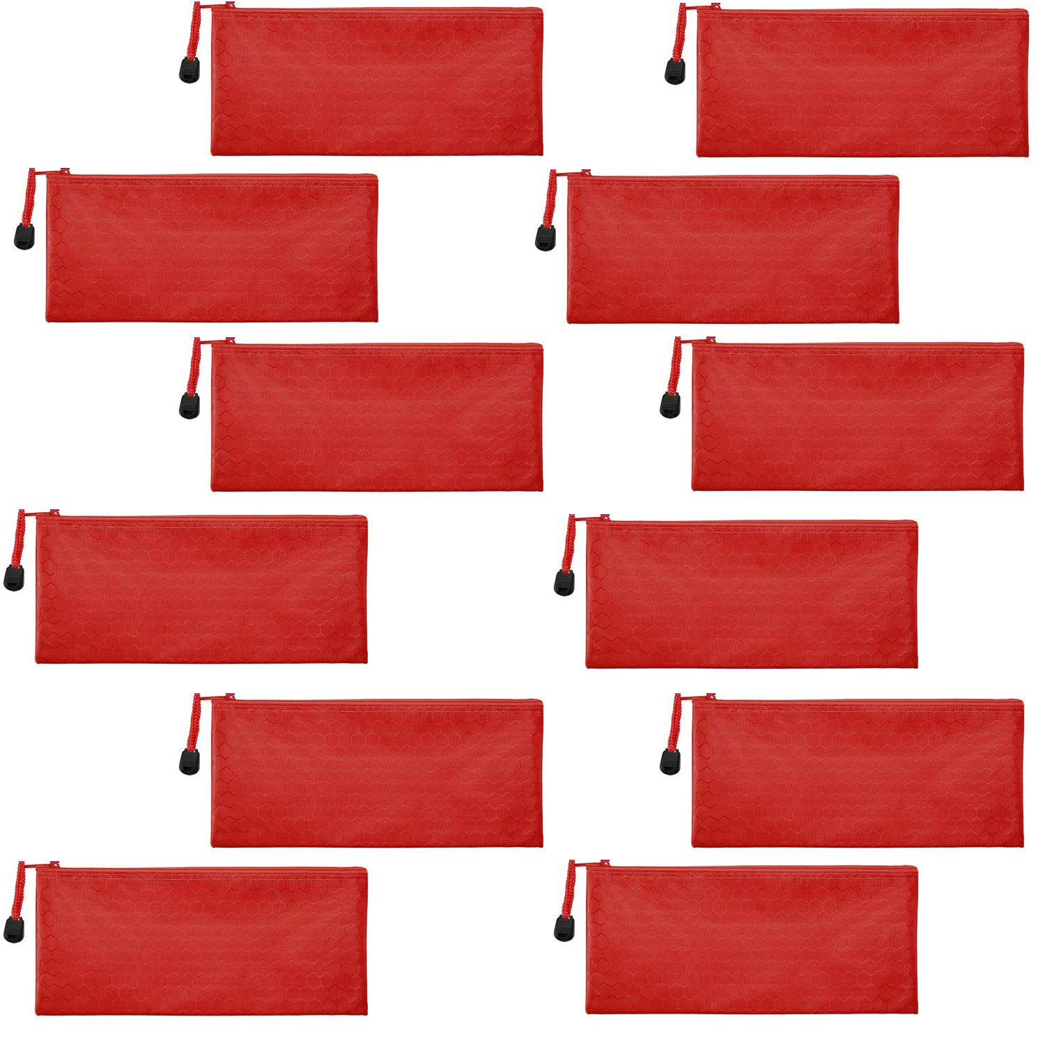 Sailing-go 12 Pieces Red Zipper Waterproof Bag Pencil Pouch for Cosmetic Makeup Bills Office Supplies Travel Accessories and Daily Household Supplies