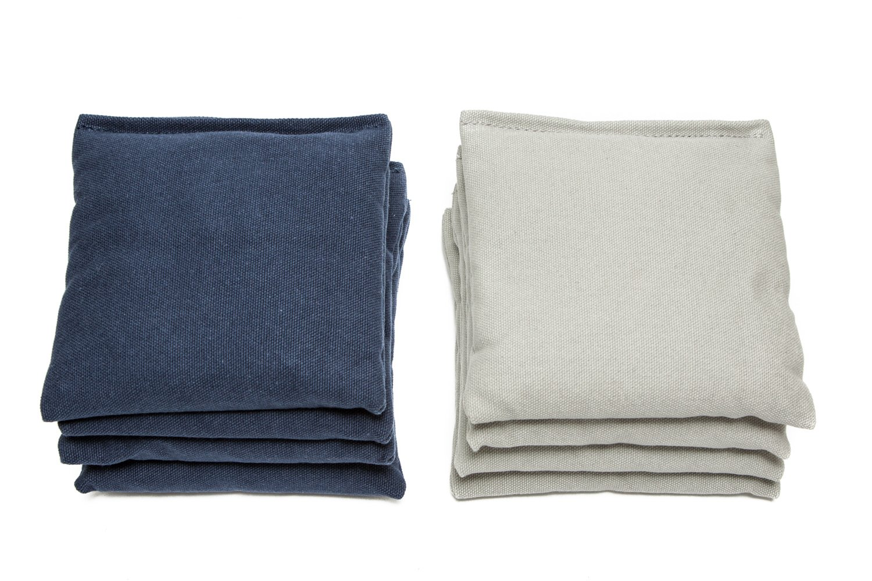 Weather Resistant Cornhole Bags (Set of 8) by SC Cornhole (Navy Blue/Grey)