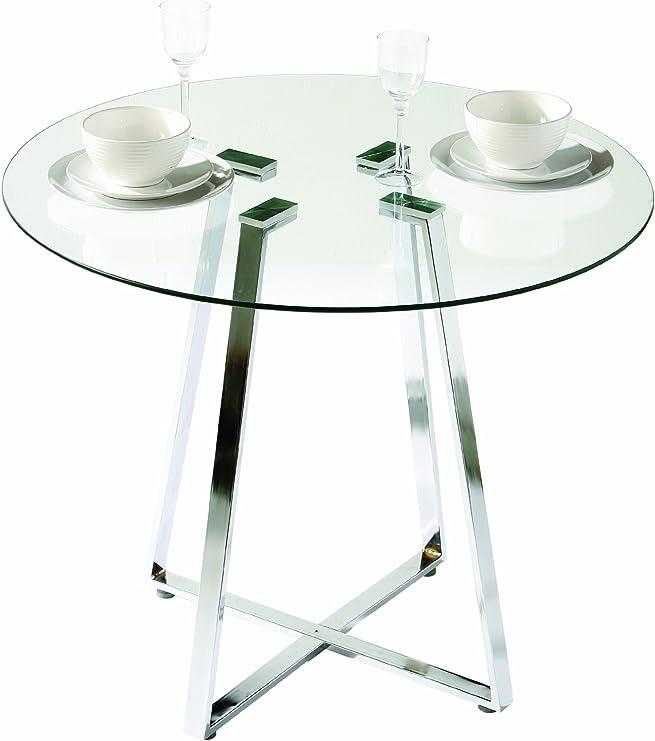 Premier Housewares - Mesa de Comedor de Cristal Redonda con Patas ...