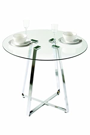 Premier Housewares Metropolitan Round Glass Dining Table With Chrome - Round glass coffee table with chrome legs