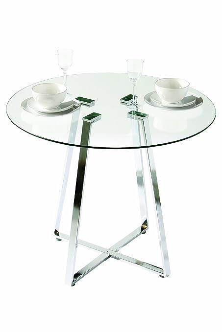 Premier Housewares Metropolitan Round Glass Dining Table With Chrome Leg,  76 X 90 X 90