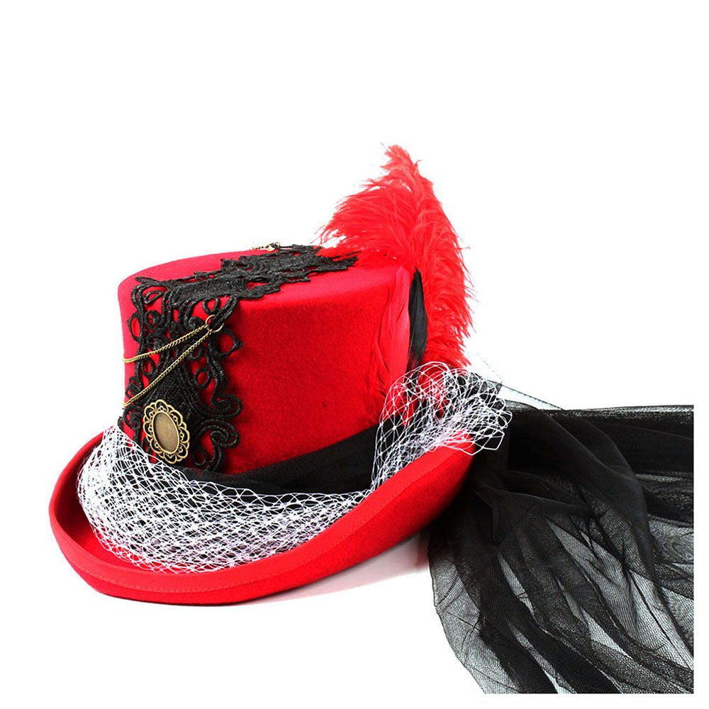 LL Women's Red Top Hat Gothic Steampunk Neo Victorian Black and Red Wedding Hat (Color : Red, Size : 55CM)