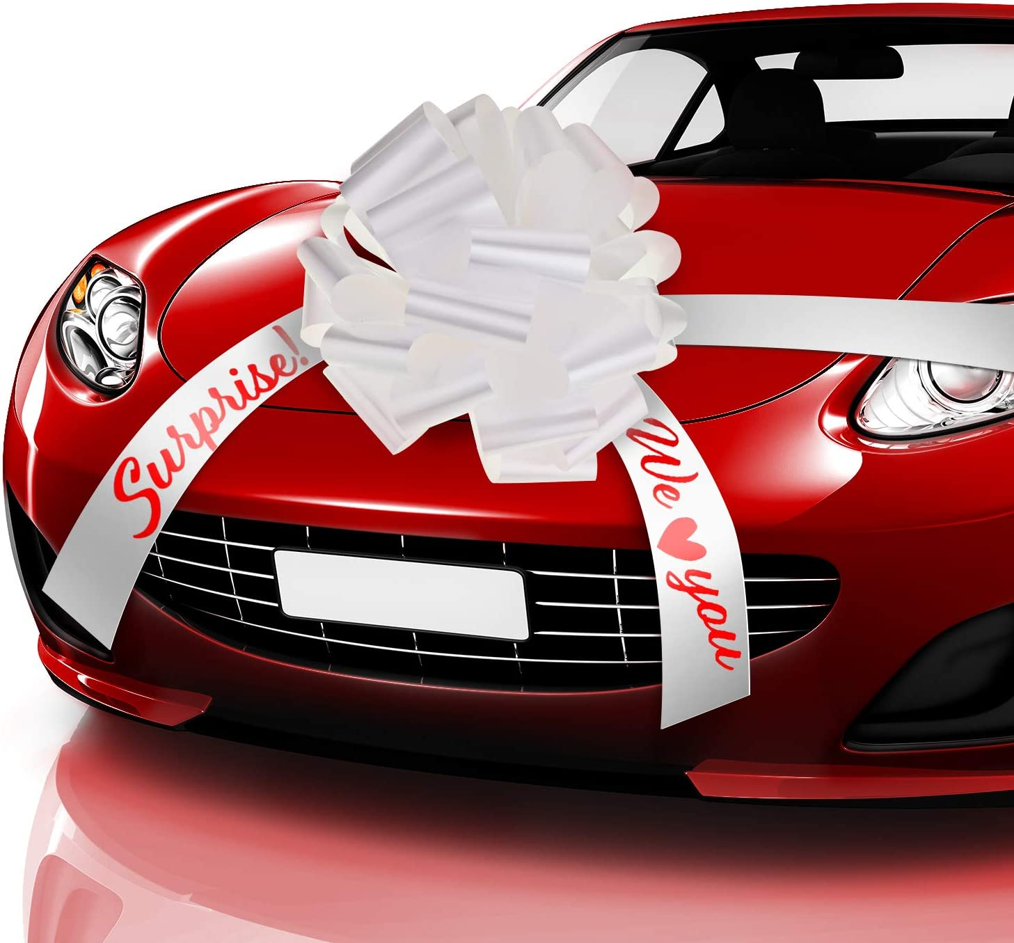 20 Inches Car Bow Pull White Car Present Wrapping Bow, We Love You Surprise Car Bow with 20 Feet Car Ribbon for Car Decor Wedding New Houses Party Celebration