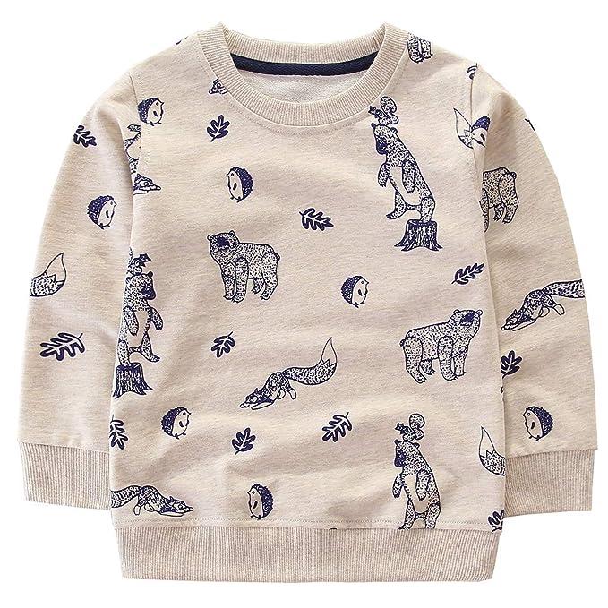 Little Boys Cotton Cute Bear and Fox Crew Neck Long Sleeve Sweatshirt Tops  (Bear ca595c918
