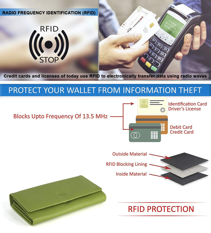 Mou Meraki Women RFID Blocking Real Leather Bifold Wallet-Clutch For Women-Shield Against Identity Theft (GREEN) by Mou Meraki (Image #6)