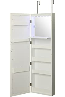 Wall Mounted Over The Door Makeup Organizer Beauty Armoire With LED Lights  And Stowaway Mirror By