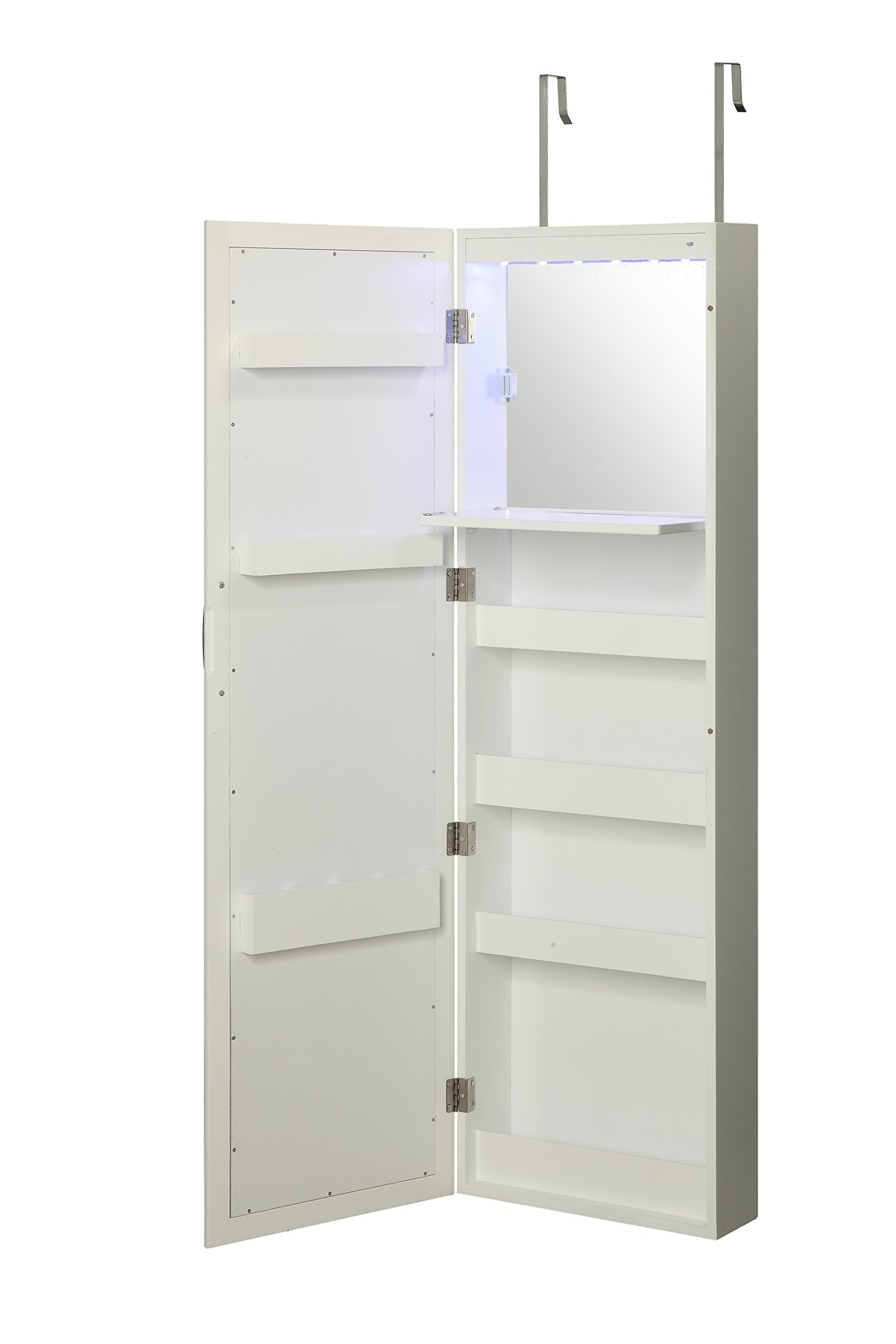 Wall Mounted Over the Door Makeup Organizer Beauty Armoire with LED Lights and Stowaway Mirror by Abington Lane