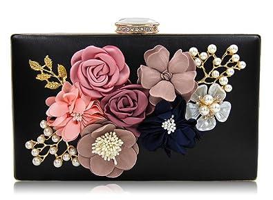 843d653543b EPLAZA Womens Satin Flower Evening Clutch Bag Pearl Beaded Wedding Bridal  Purse Prom Party Handbag (
