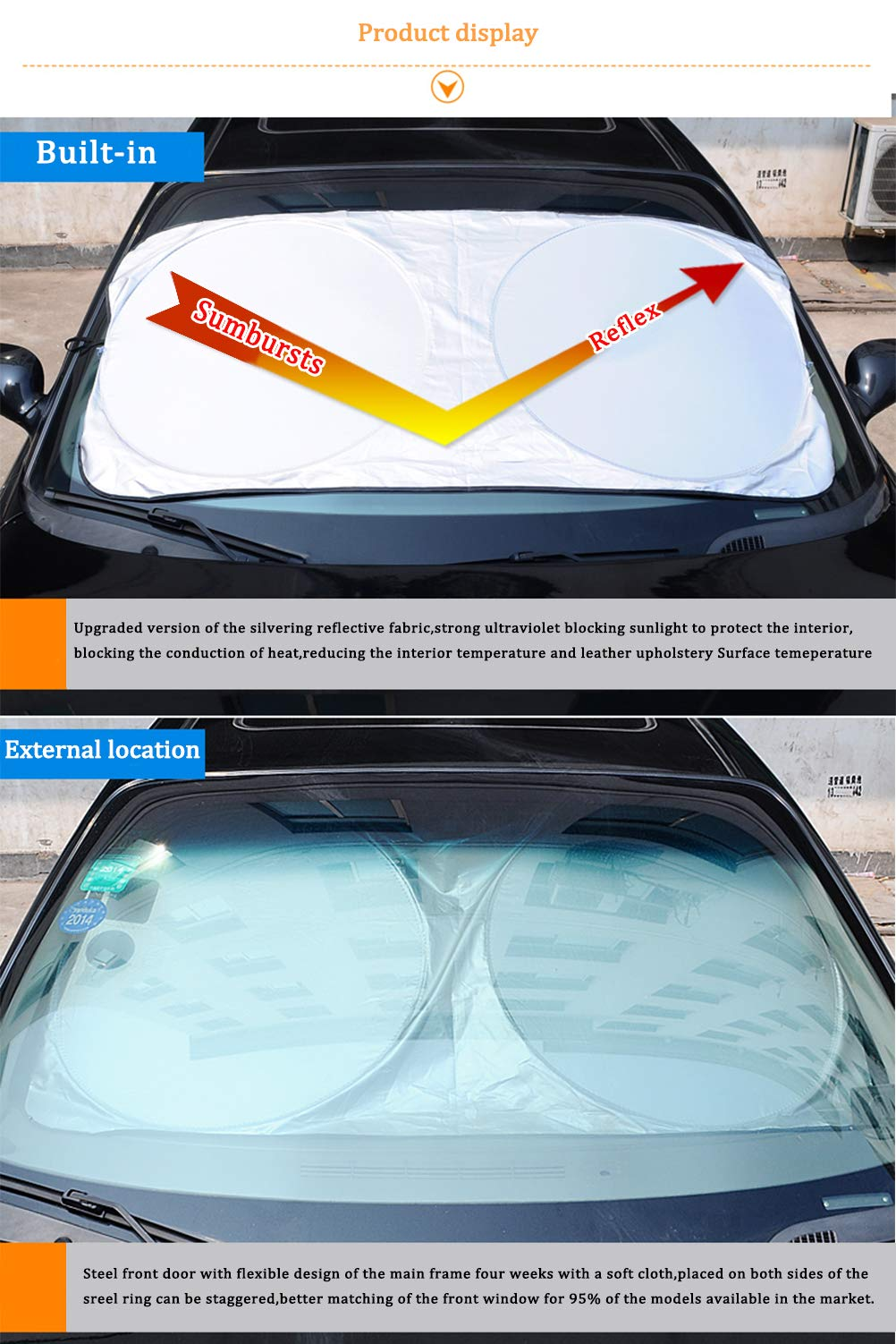Windshield Sun Shade/Made of 210T Silver Coated Cylon/Effective Insulation/Fits Windshields of Various Sizes (Standard 59 x 31 inches) (6 Sets) by g-oo-d (Image #2)