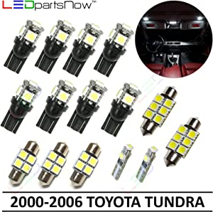 LEDpartsNow Interior LED Lights Replacement for 2000-2006 Toyota Tundra Accessories Package Kit (15 Bulbs), WHITE