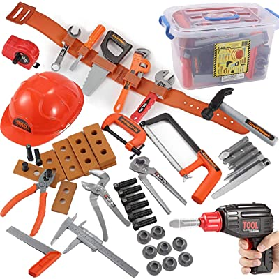 JOYIN Kids Tool Set with Electronic Cordless Drill, Safety Helmet, and 48 Pieces Pretend Construction Toys with Bonus Storage Box: Toys & Games