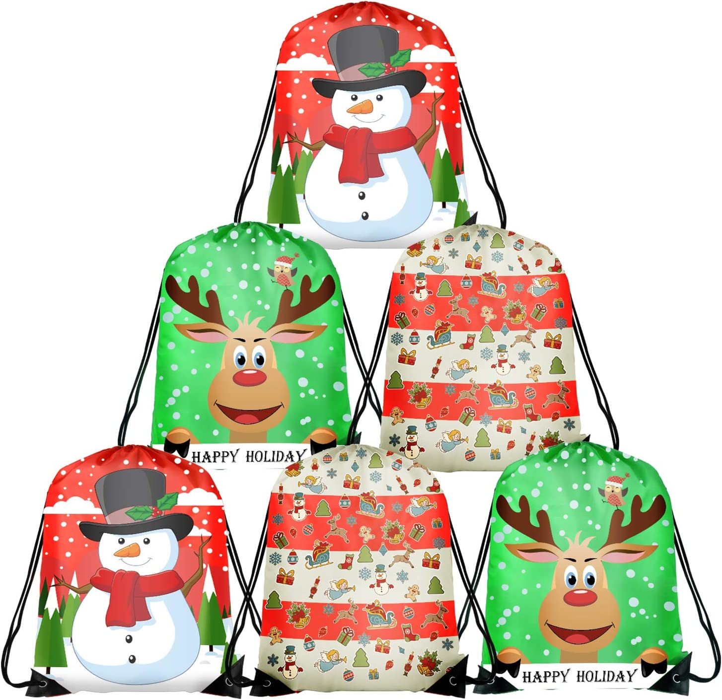 TUPARKA Christmas Drawstring Bags Santa String Backpack Cinch Sack Holiday Gift Bags for Christmas Party Favors  Christmas 6 Pack