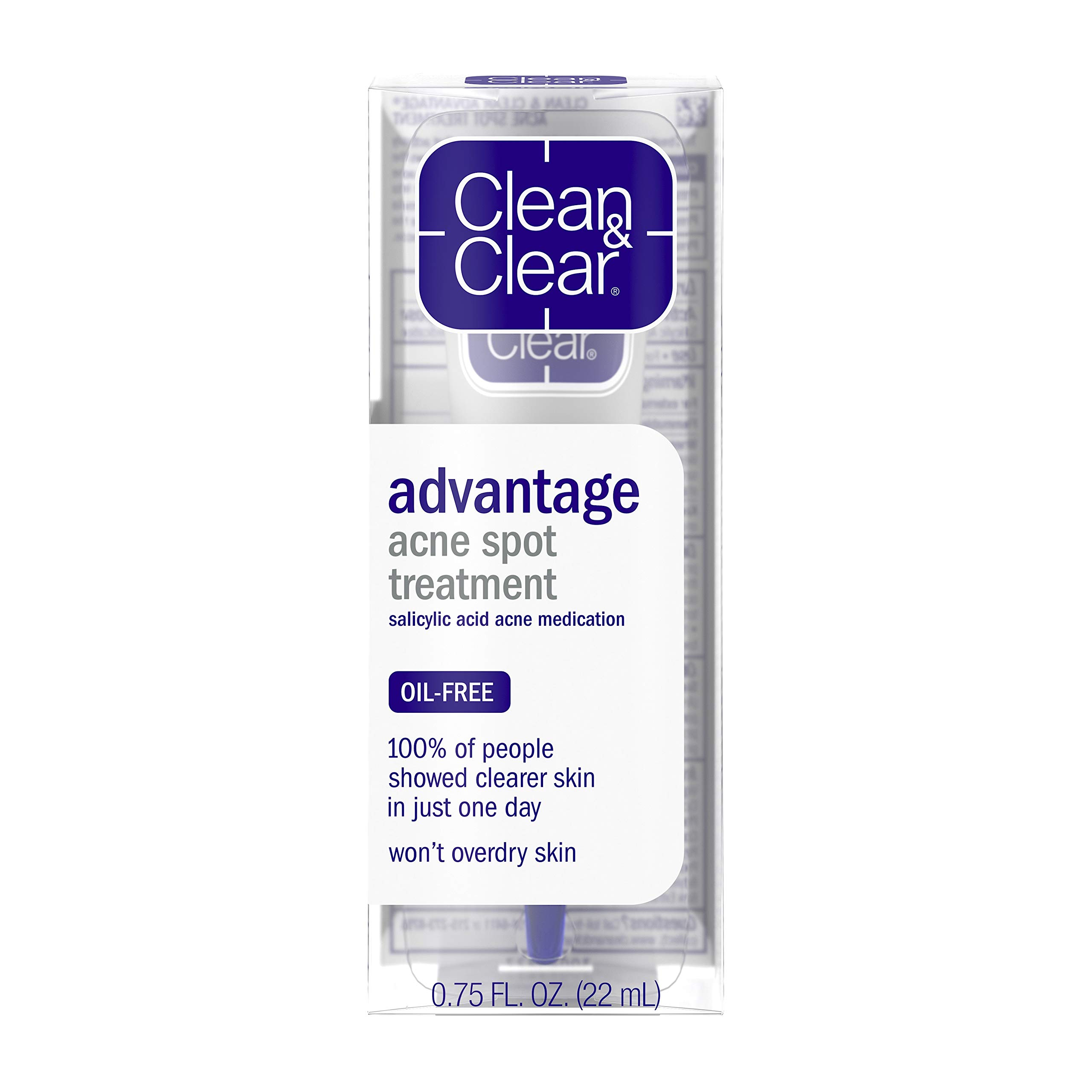 Clean & Clear Advantage Acne Spot Treatment, Oil Free Acne Treatment with Salicylic Acid, Gel Pimple Cream for Adults and Teens, Witch Hazel & Salicylic Acid Medication,.75 oz ( Pack of 4)