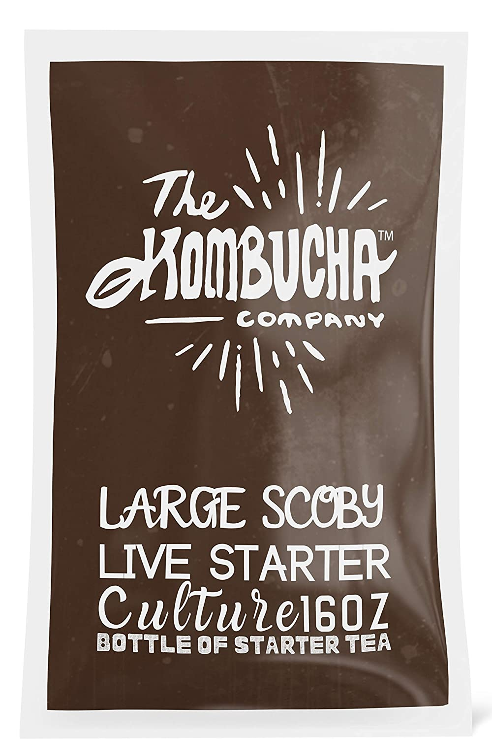 The Kombucha Company Large Scoby Starter Kit – 16 oz Bottle Liquid Organic Live Culture for Brewing 1 Gallon of Homemade Kombucha Tea – with Filtered, Purified Rainwater, Black Tea and Yerba Mate