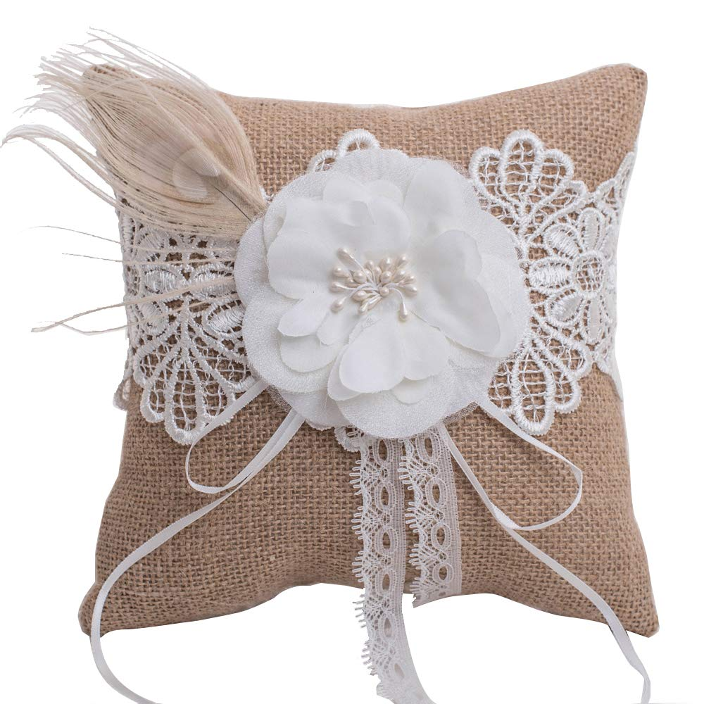 Longble Wedding Bridal Burlap Lace Ring Pillow Jute Hessian Rustic Vintage Bowknot Bearer Ribbon Cushion With White Flower And Artificial: Wedding Burlap And Lace Ring Pillow At Websimilar.org