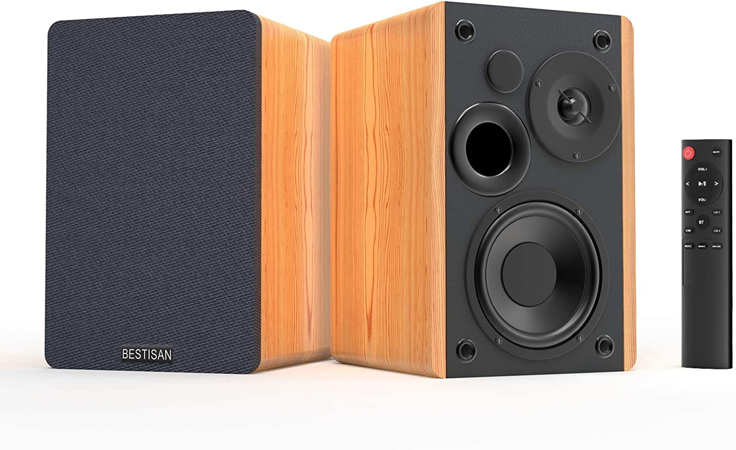Bookshelf Speakers Bestisan Bluetooth 5.0, 3 Equalizer Modes, 50W Home Theater Bookshelf Speakers, Remote Control, Wooden Enclosure, 2.0 Stereo, RCA/Aux/Optical Connection