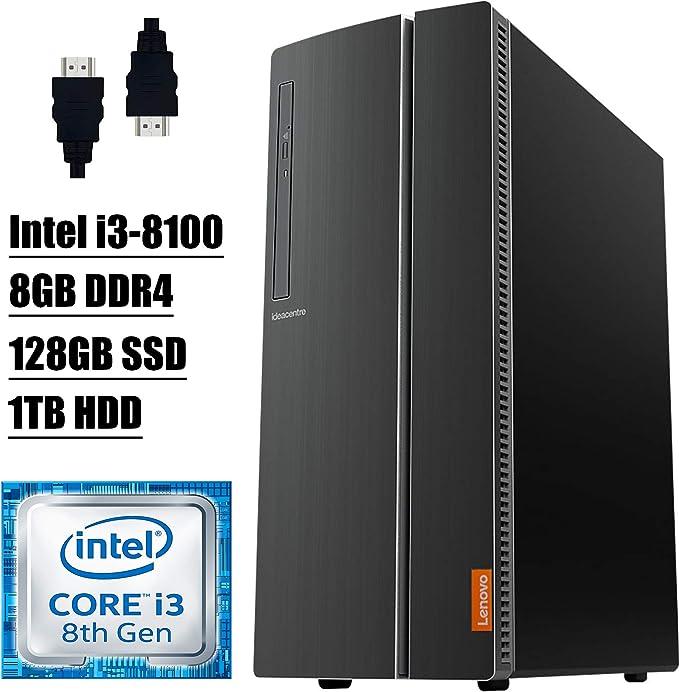 Lenovo Ideacentre 510A 2021 Premium Desktop Computer I 8th Gen Intel Quad-Core i3-8100 Processor I 8GB DDR4 128GB SSD 1TB HDD I DVD Wi-Fi Bluetooth 4.2 USB Win 10+ Delca HDMI Cable   Amazon