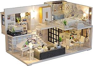 DIY Dollhouse Miniature Kit with Furniture, 3D Wooden Dollhouse Kit Plus Dust Proof & LED Light & Music Movement, 1:24 Scale Creative Room Toys Miniature Dolls House Kit
