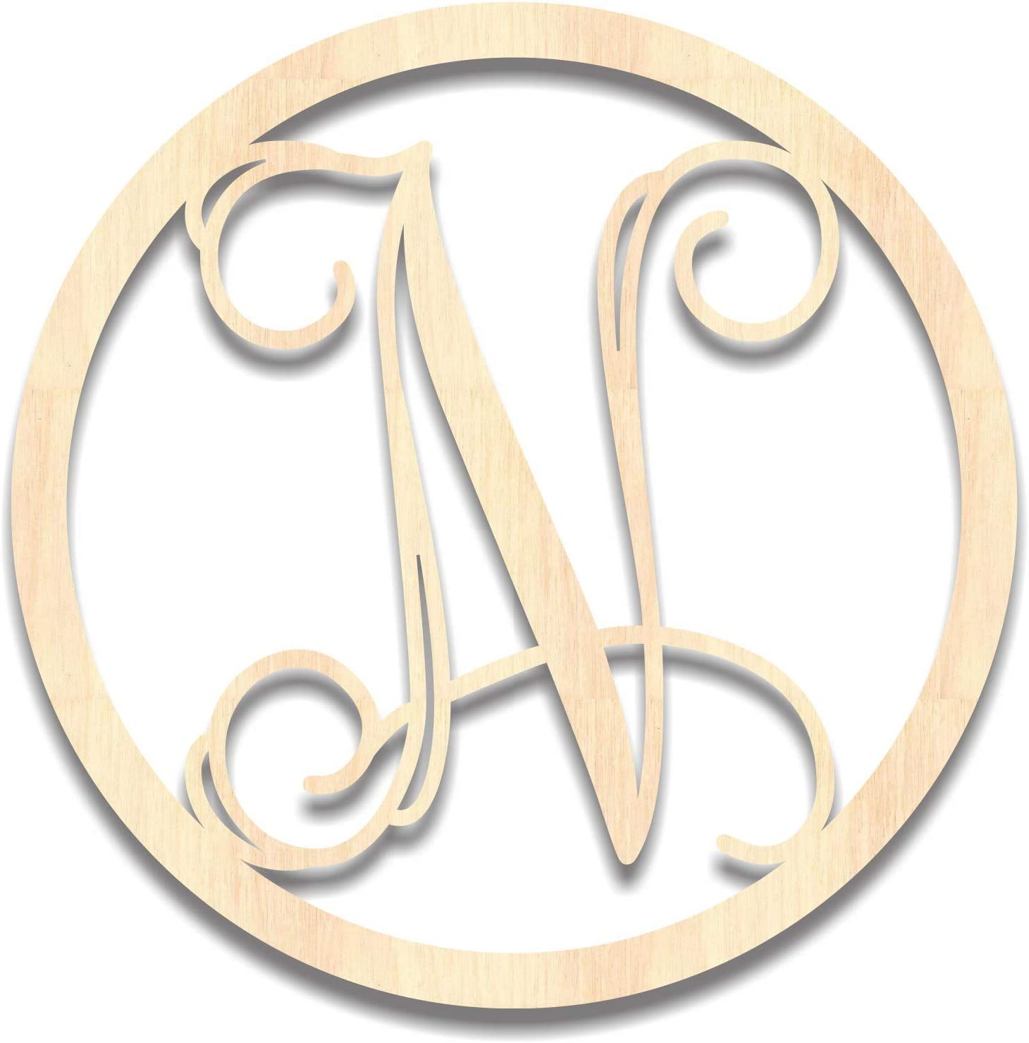Back40Life - Precision Cut Vines Circle Wood Monogram Letter - 20-inch Unfinished N