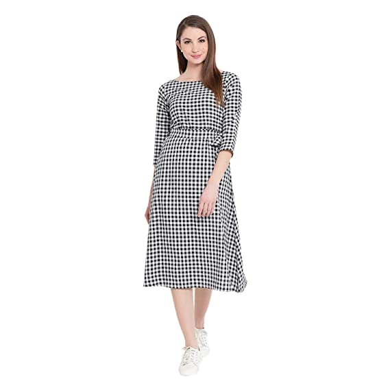 a4a4c9655c Fabnest Women's Cotton Check Dress with Belt (Black and White, Small)