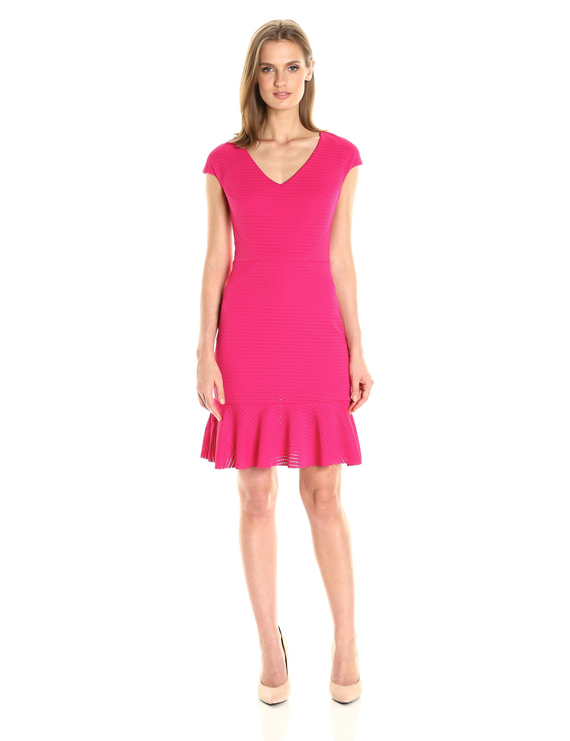 Julia Jordan Women's Fitted Sleeveless V Neck Dress with Flare at Bottom, Fuchsia, 2