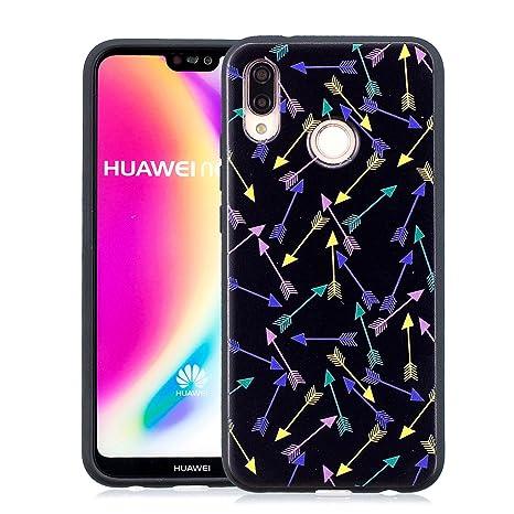 Yunbaozi Funda Huawei P20 Lite Embossing Case Carcasa Suave Impresión 3D Caucho TPU Flexible Cáscara Delgado Ligero Alivio Negro Carcasa Huawei P20 ...