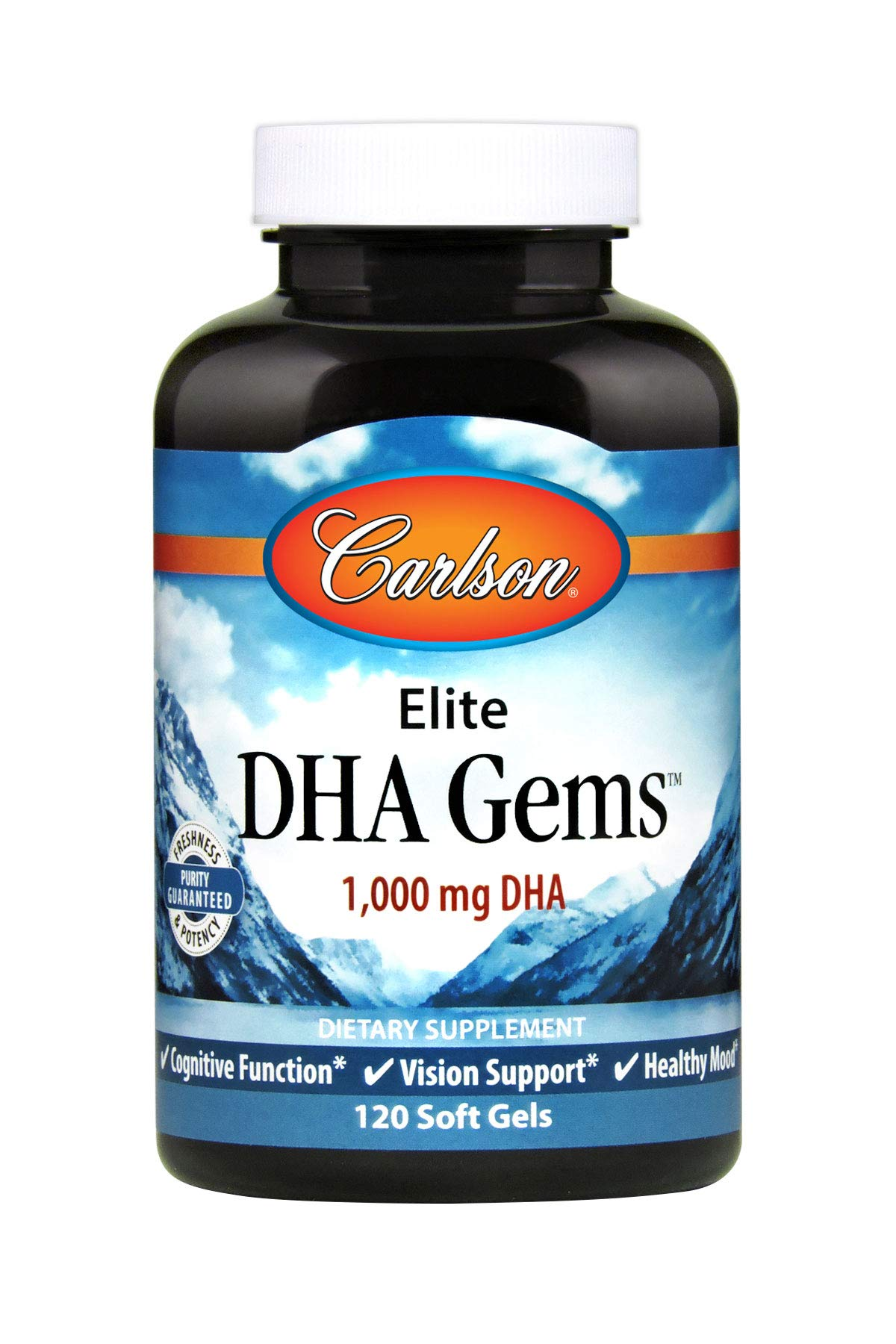 Carlson - Elite DHA Gems, 1000 mg DHA, Supports Healthy Brain Function & Vision, 120 Soft gels by Carlson