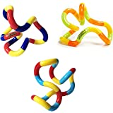 Tangle Jr. Classic Sensory Fidget Toy, Set of 3, Carnival, Tropical, Light Blue Yellow