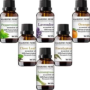 MAJESTIC PURE Aromatherapy Essential Oils Set, Includes Lavender, Peppermint, Lemongrass, Orange, Eucalyptus & Clove Oils - Pack of 6-10 ml each
