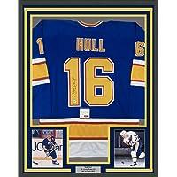 $424 » Framed Autographed/Signed Brett Hull 33x42 St. Louis Retro Blue Hockey Jersey PSA/DNA COA
