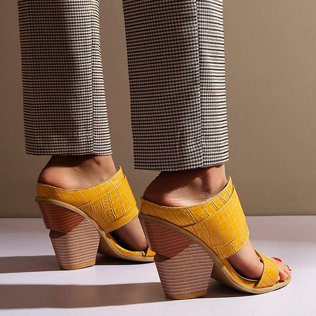 Mule Chunky Heel Sandals Women Slip on High Heels Peep Toe Slide Sandals Mules Pump Dress Heeled Sandal Shoes