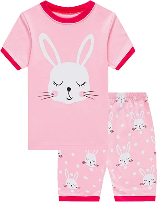 Image result for Girls Short Pajamas Snug Fit Sleepwear 100% Cotton Summer Toddler Pjs Clothes Shirts