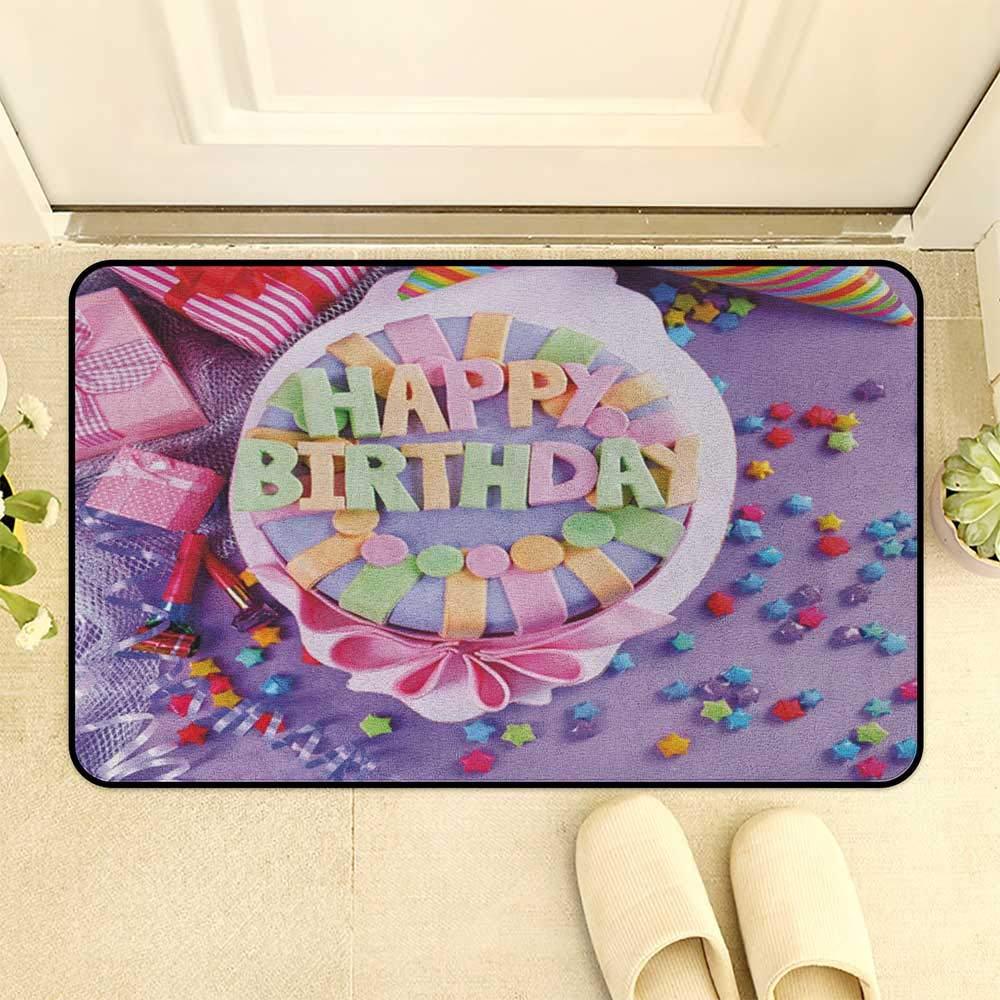 Birthday Interior Doormat Delicious Cake On A Table With Stars And Presents Party Yummy Dessert Multicolor Hard Floor Protection W19 X L31 INCH
