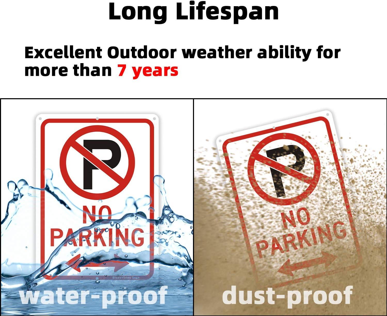 4-Pack BlazeVideo No Parking Signs Warning Sign Aluminum Metal Signage Hanging Sign 7 X 10