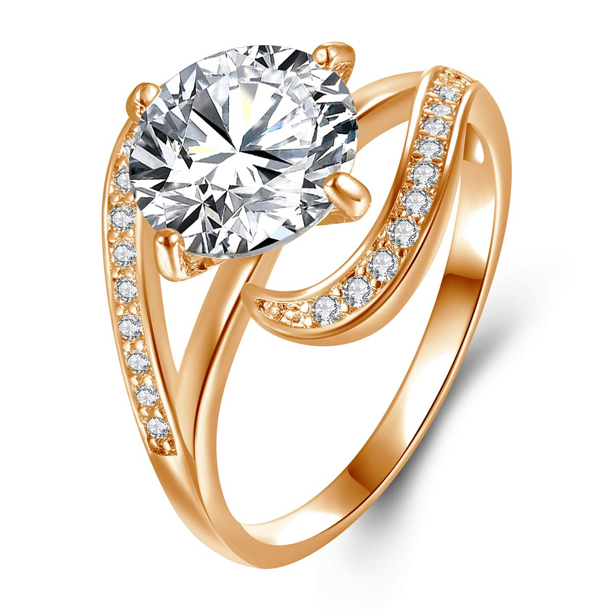 Champagne Rose Gold Plated 2.7ct Round CZ Simulated Diamond Solitaire Wedding Engagement Rings for Women Size 5-10