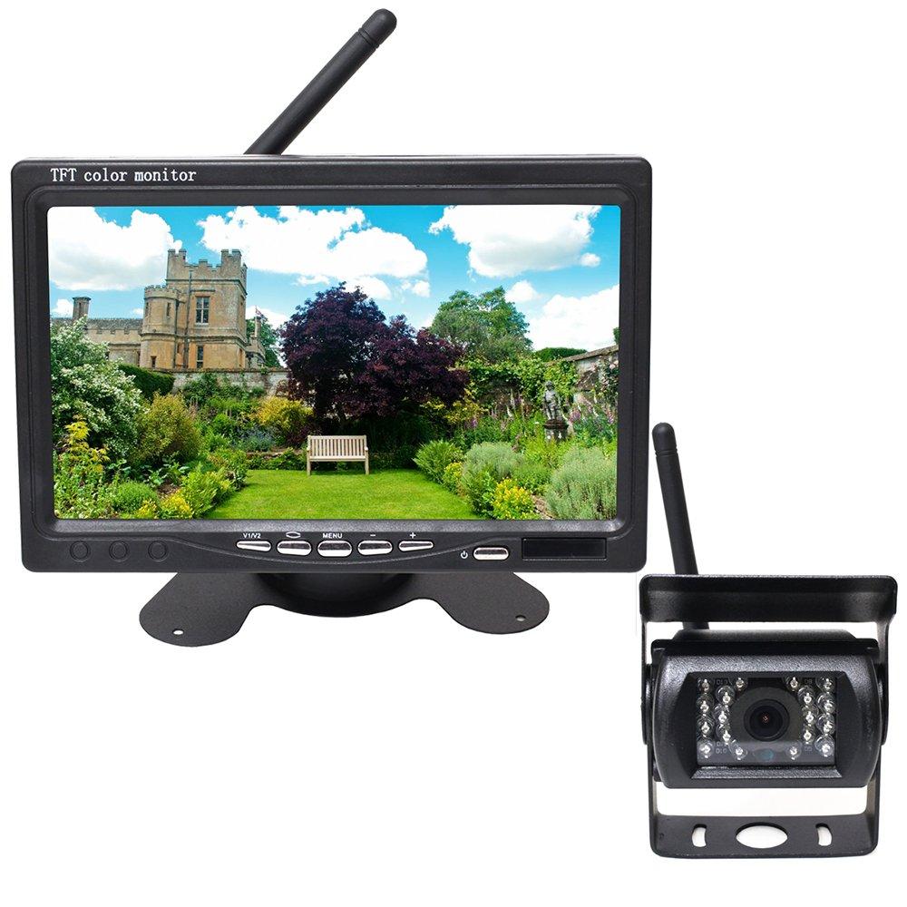 バックカメラ & モニター ワイヤレス式 赤外線 暗視 機能 付き 大型車 トラック 最適 B077D1CJV1