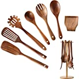 Wooden Kitchen Utensil Set, NAYAHOSE Bamboo Utensil Holder with 6 Hooks Kitchen Countertop Hanging Organizer for Spoon Spatul