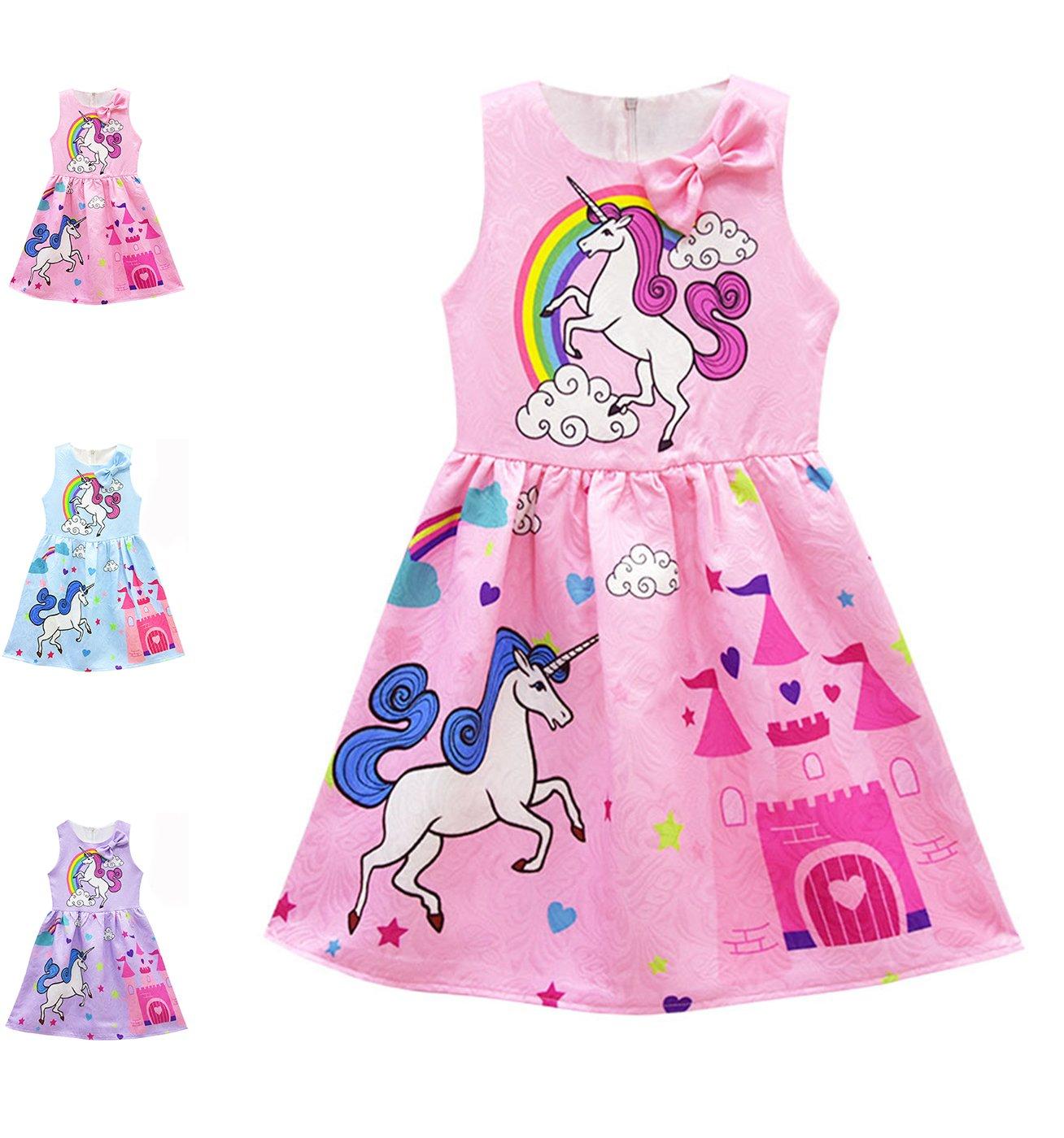 Girls Unicorn Dress, Summer Sleeveless Rainbow Dresses, Printed Party Fairy Dress Pleated Skirt (Pink, 120CM)