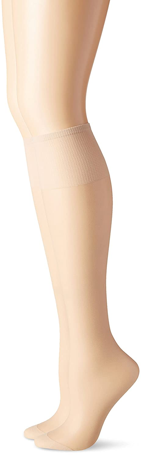 Hanes Silk Reflections Women's Knee High Reinforce Toe 2 Pack Barely Black One Size 00775