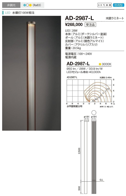 山田照明 電球色LEDガーデンライト(水銀灯100W相当) AD-2987-L   B01M2Y66HR