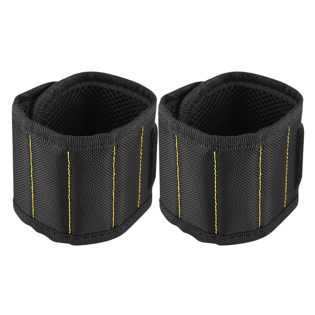 Zerodis Breathable Magnetic Wristband Water-resistant Oxford Cloth Strong Magnets Tool Wrist Belt for Screws Nails Bolts Drill Bits Holder Repair Tools(Black 2pcs)